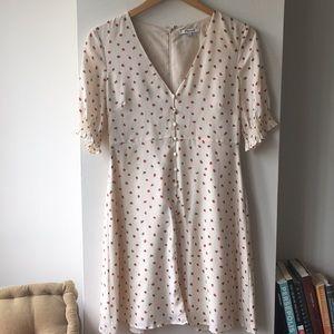 Madewell strawberry print silk dress
